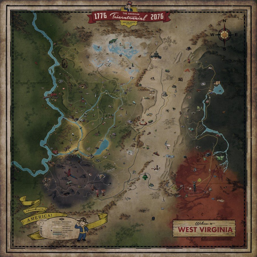 Fallout 76s Map Revealed Four Times Larger Than Fallout