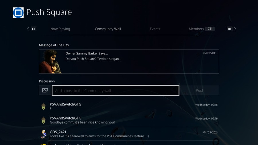 PS4 PlayStation 4 Communities