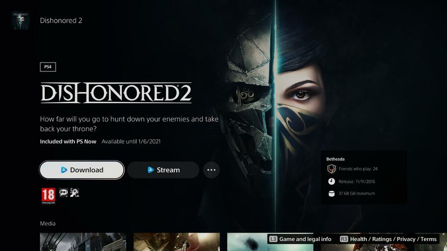 Dishonored 2 PS Now
