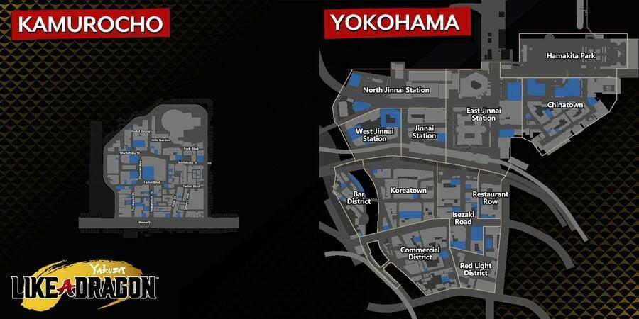 Yakuza Like a Dragon Yokohama Map