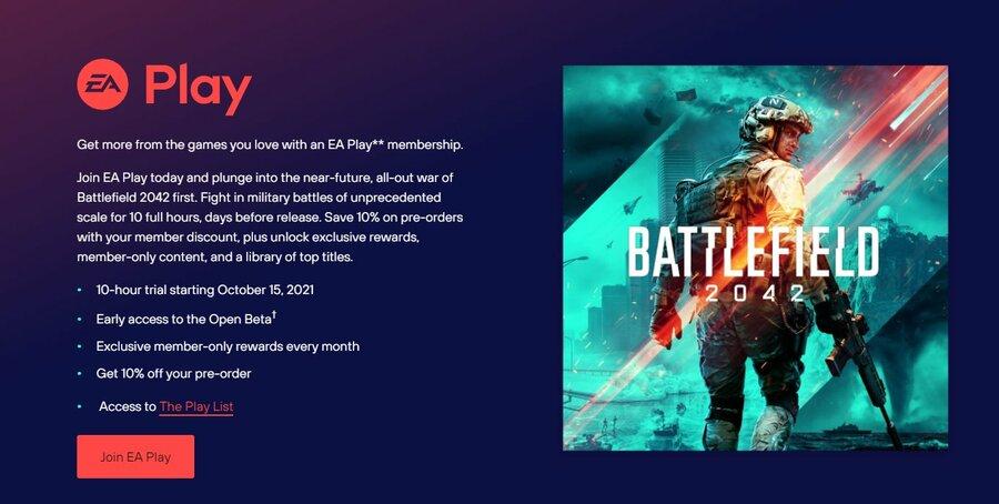 EA Play PS5 PS4 Battlefield 2042