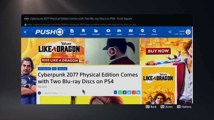 PS5 PlayStation 5 Web Browser