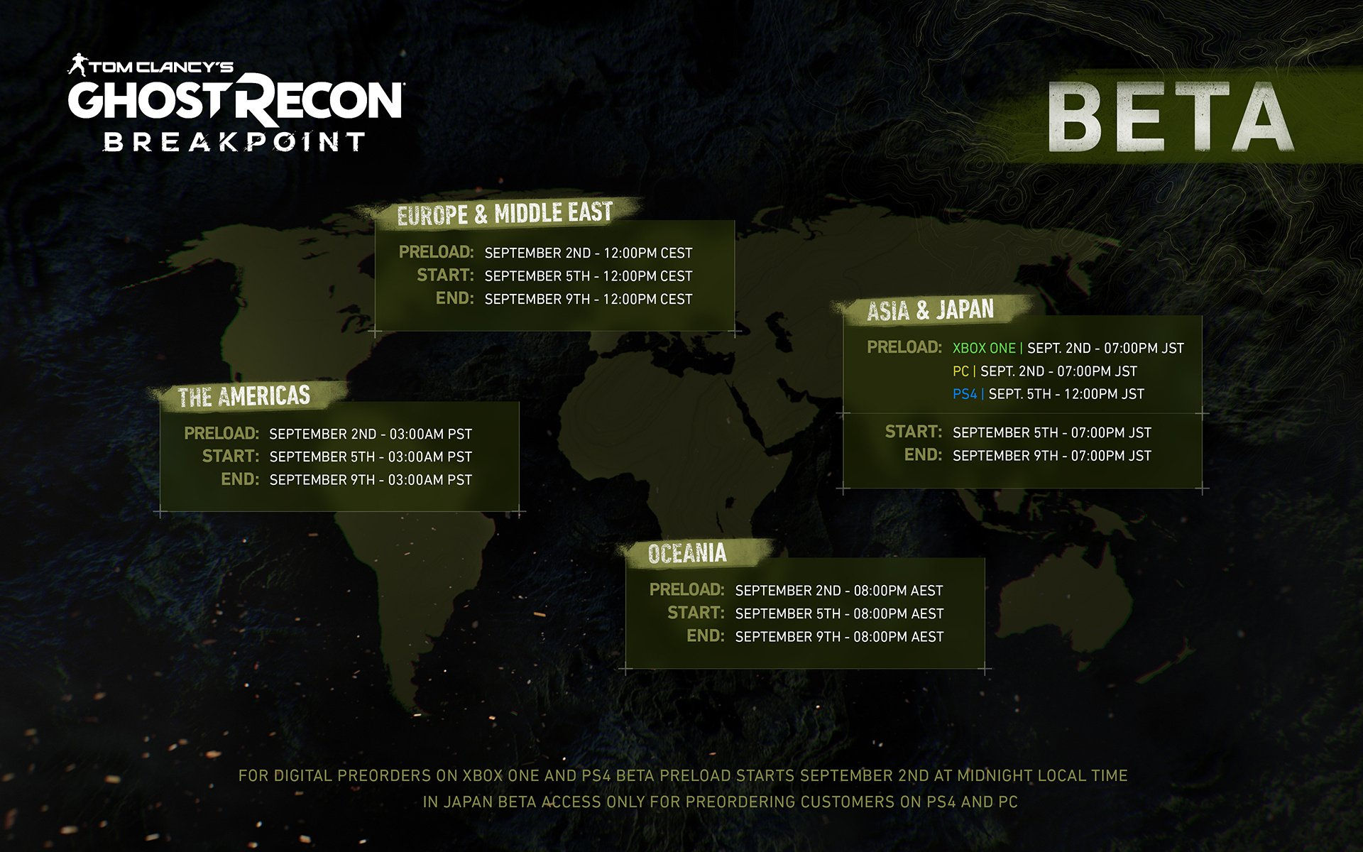 8 Pst To Aest ghost recon: breakpoint ps4 closed beta - dates, times, and