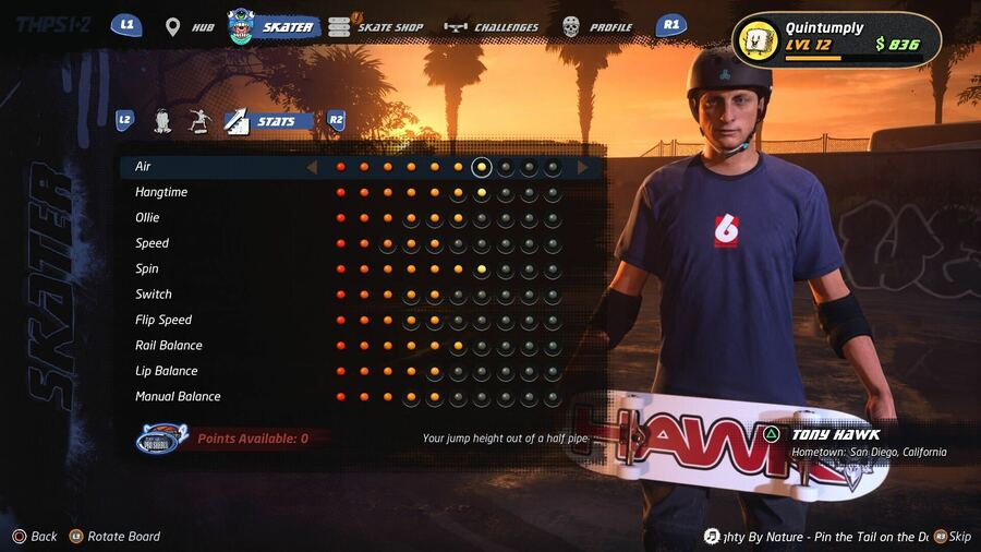 Tony Hawk's Pro Skater 1 + 2 Stat Points Guide PS4 PlayStation 4 1