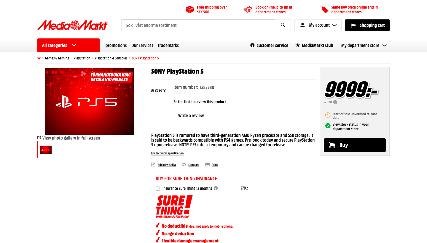 Don't Believe European Retailer MediaMarkt's Sky High PS5 Pre-Order