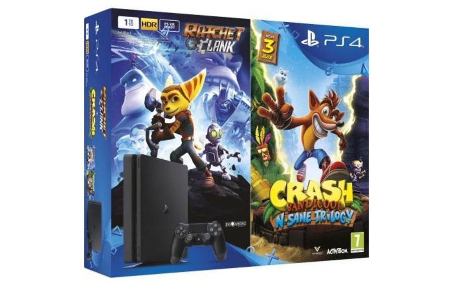 PS4 Slim 1TB Bundle Ratchet Clank Crash Bandicoot