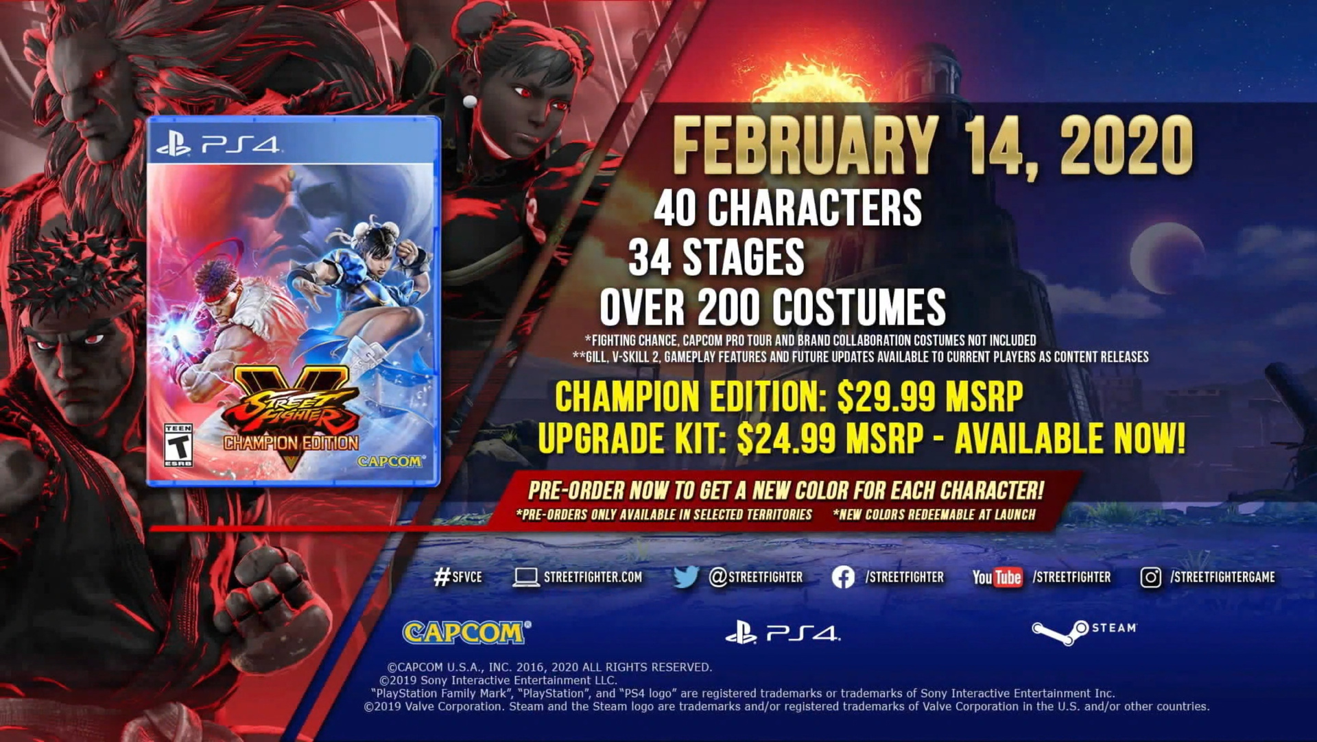 Capcom announces Street Fighter V: Champion Edition, Gill joins roster next month