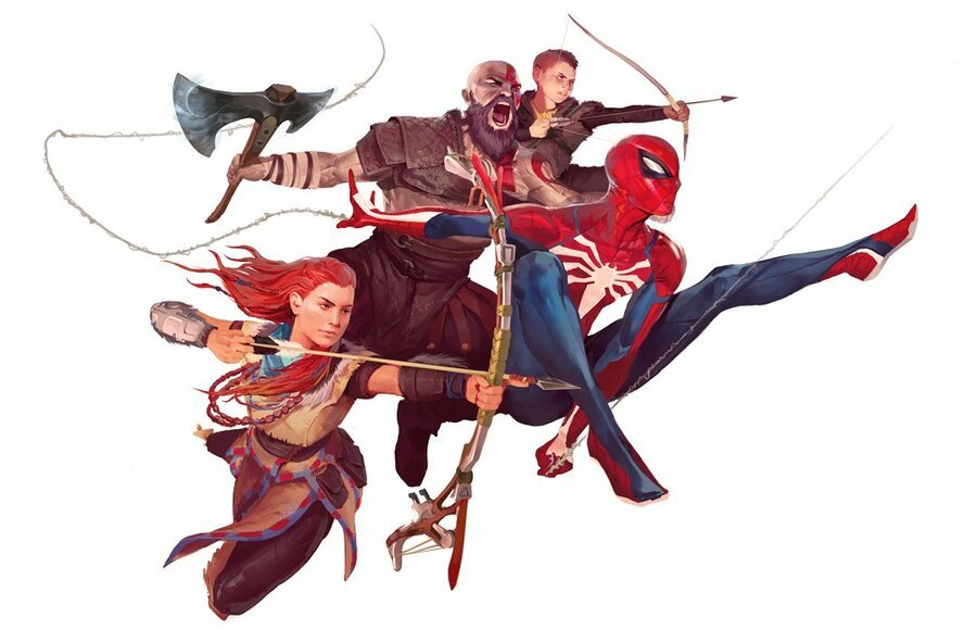 Playstation God Of War Horizon Spiderman Art