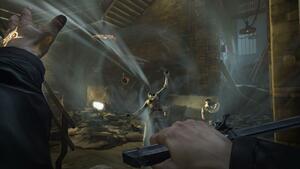 Using a Windblast, one of Corvo's supernatural powers