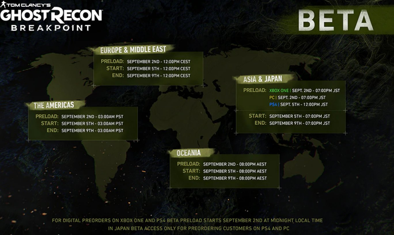 8 Pst To Aest ghost recon: breakpoint beta dated for early september