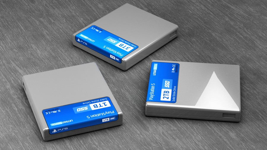 PlayStation 5 PS5 SSD Storage Cartridges 3D Mock Up