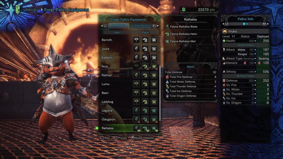 monster hunter world how to change palico equipment