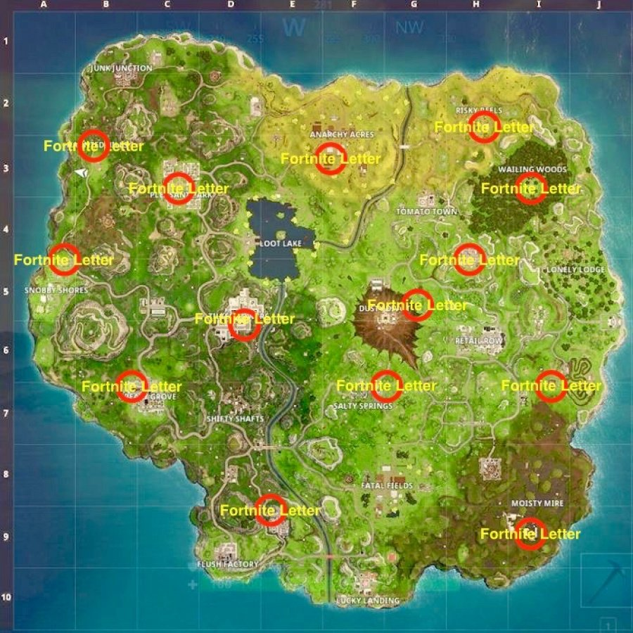 Fortnite Letters Locations   Where to Search the F O R T N I T E